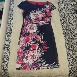 Floral Knee Length Waist Slimming Dress